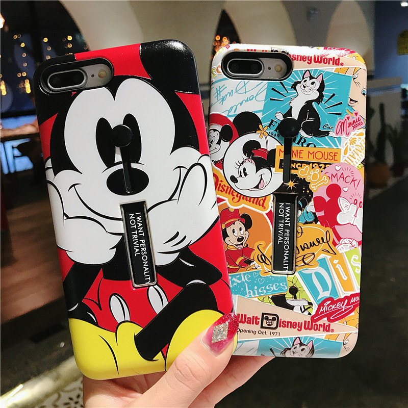 Cartoon Mickey Bulldog Soft Silicon Cover With Ring Stand Holder