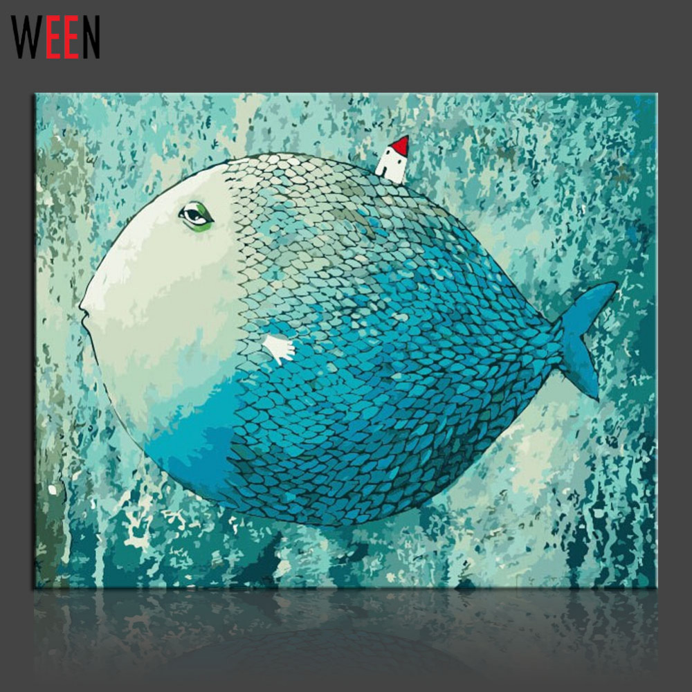 WEEN Fish Oil Painting By Number On Canvas Home Decoration 40x50cm ...