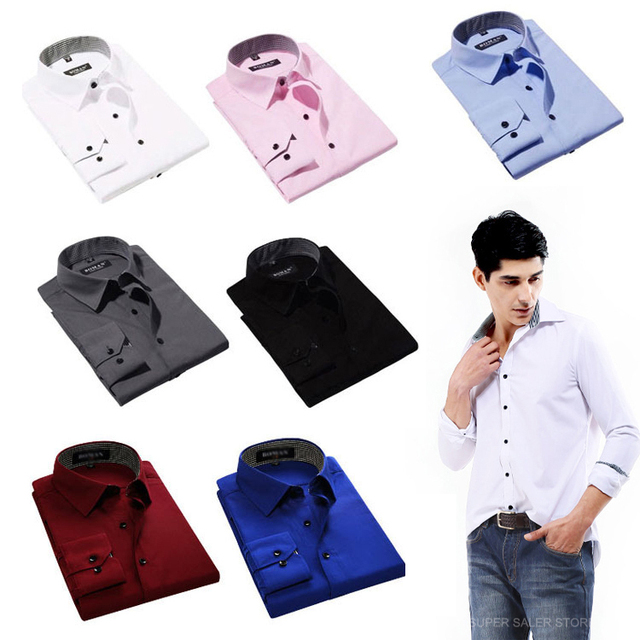 New Men's Business Shirt Long-sleeved Slim Men's Casual Dress Shirt for Male Autumn