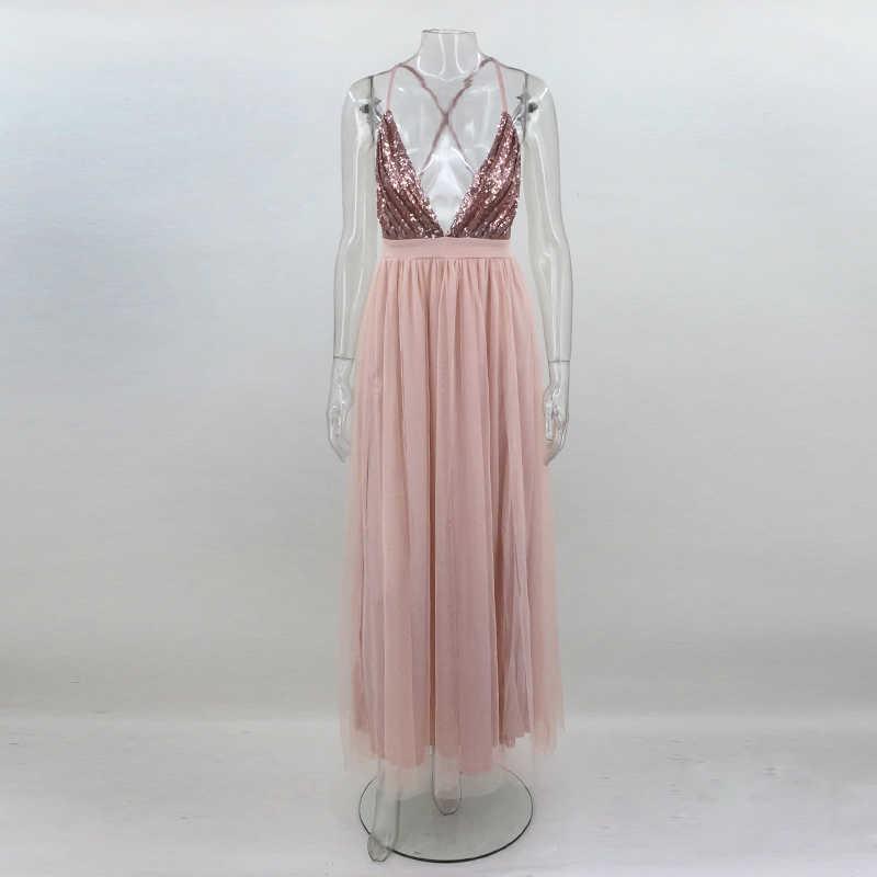2017 на осень-зиму новые женские блестками длинное платье Глубокий v-образный вырез спинки платье старинные сексуальное платье Клубная одежда вечернее платье