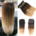 Mlalaysian Virgin Hair With Closure straight Ombre Colored 1B/4/27,Cheap Ombre Hair Bundles With Lace Closure 5 Pieces Lot