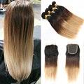 Mlalaysian pelo virginal con cierre recta Ombre color 1B / 4 / 27, barato Ombre paquetes de pelo con cierre de cordones 5 unidades mucho