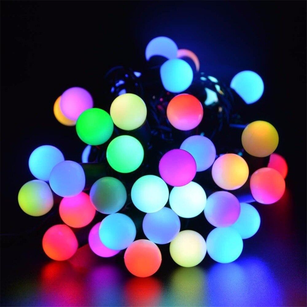 Solar Powered Led Outdoor String Lights 5M 30LEDs Crystal Ball Globe Fairy  Strip Lights For Outside