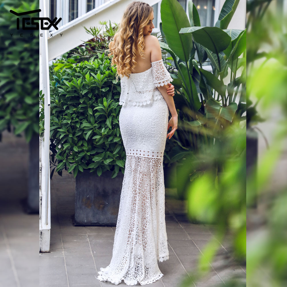 Yesexy 2019 Summer Sexy Strapless Women Dress Backless Elegant Lace Dress Floor Length Solid Color White Dress 2 pcs set VR1014