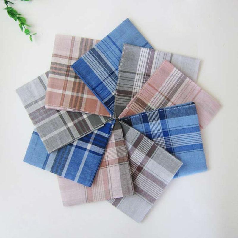 12 Pcs/lot Cotton Handkerchief Women Classic Plaid Check Pocket Hanky Handkerchiefs Men 38*38cm