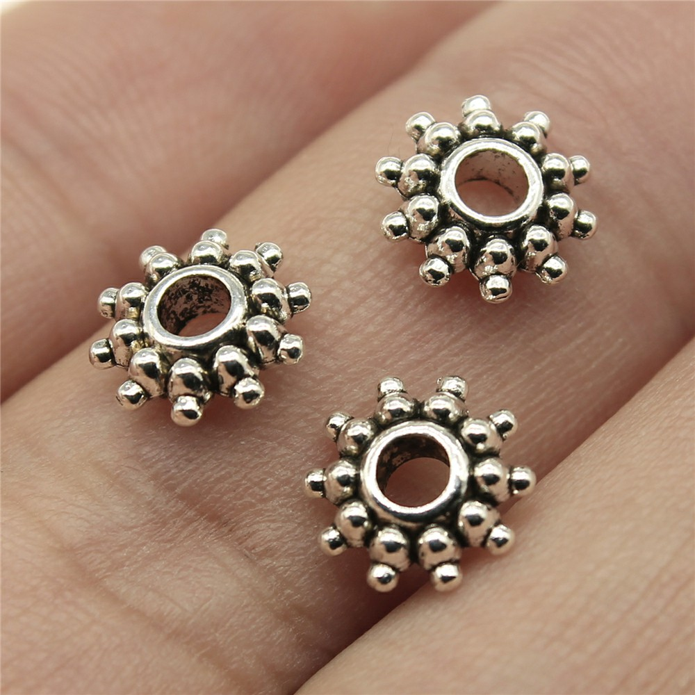 15pcs Antique Silver Rose Flower Loose Spacer Beads DIY Charms Jewelry