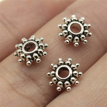 WYSIWYG 40pcs 8x8x2mm Antique Silver Spacer Beads Fit Bracelet Findings Jewelry Making Round Spacer Beads Charm Charm