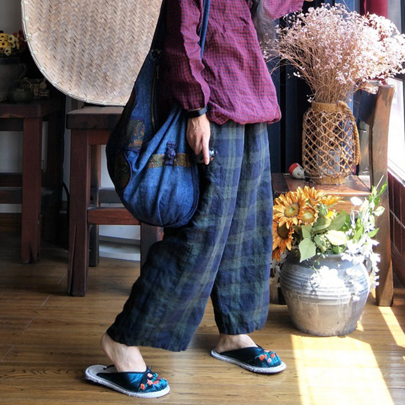 Johnature 2019 New Vintage Linen Plaid Loose Pants Elastic Waist Patchwork Pockets 2 Colors Autumn Women