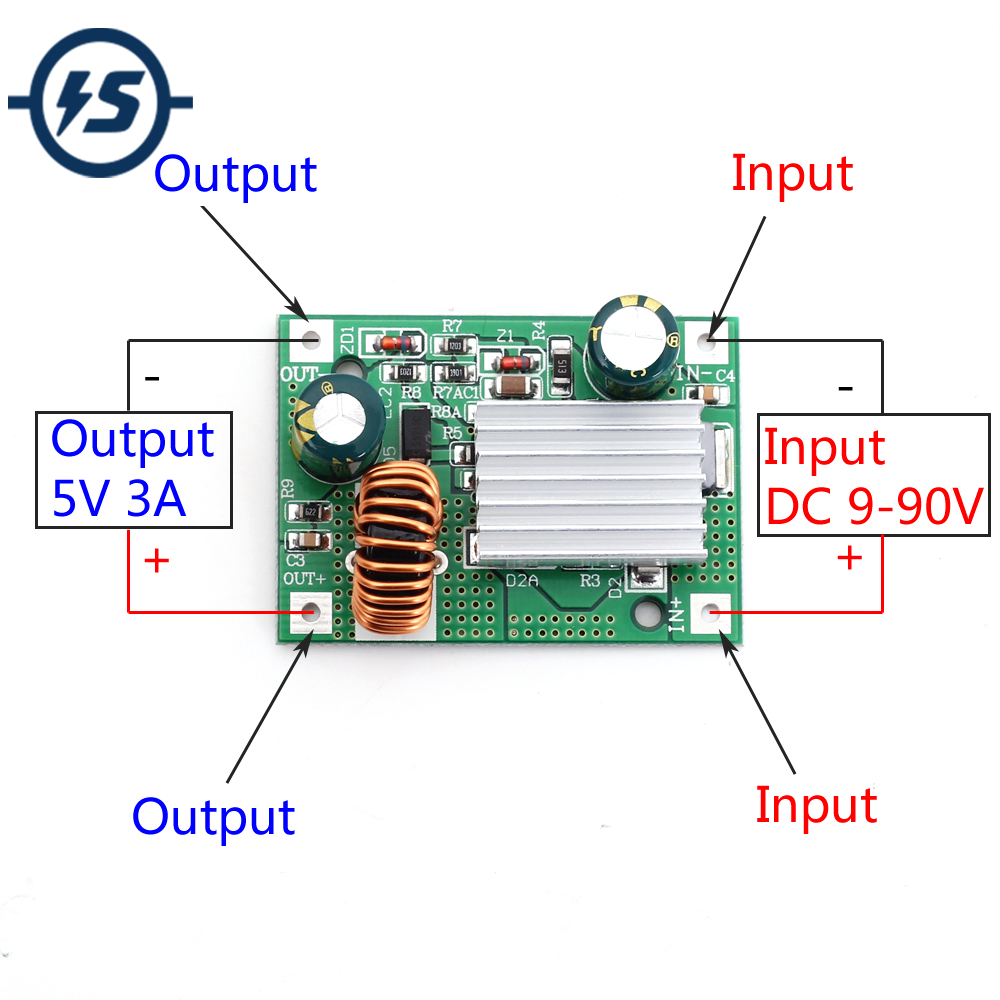 9V 12V 24V 36V 48V 72V To 5V 3A DC Step Down Module Power Supply Non-isolated Buck Converter
