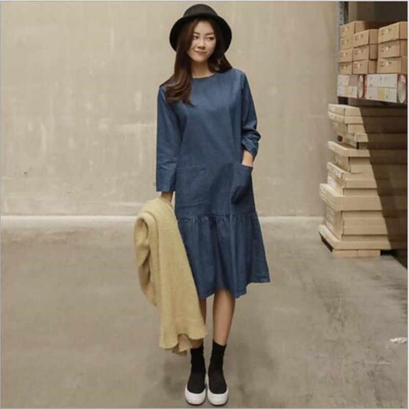 Корейский женский джинсовый сарафан Mori Girl весеннее Длинное свободное платье с оборками Повседневное платье Vestido джинсы Vestido платье плюс размер QC68
