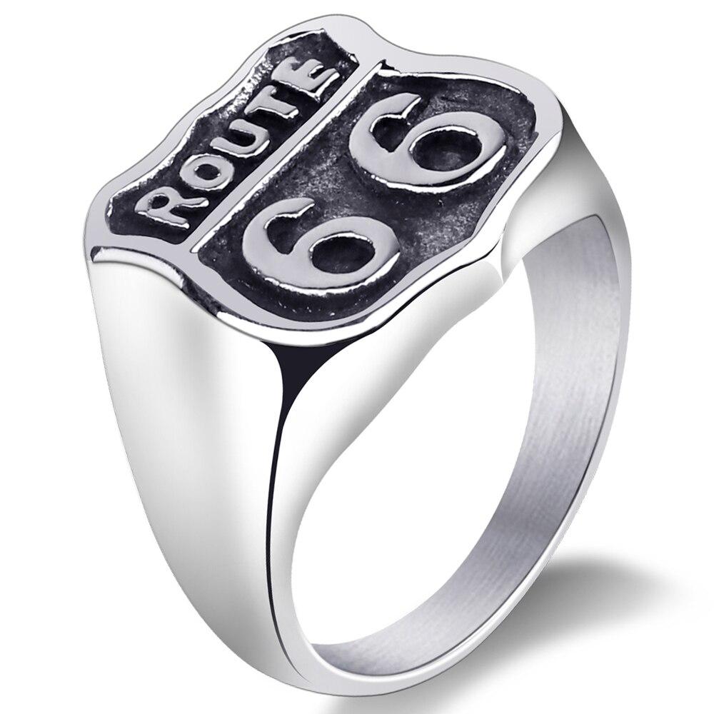 Mimeng Classic America 66 ROUTE Titanium Ring Classic Ring Exaggerate Men Jewelry