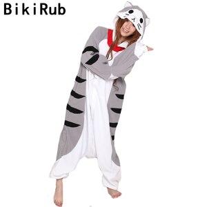 Image 1 - Bikirub unisex adult đồ ngủ đồ ngủ dễ thương pho mát tabby cat cartoon quần áo ngủ pyjama phụ nữ lông cừu đội mũ trùm đầu animal pajama bộ