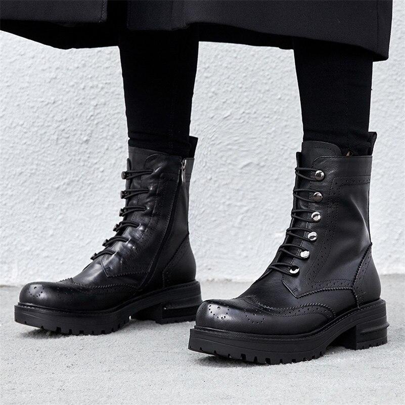 07045049a7e CONASCO Sexy Rock mujeres vaca cuero tobillo botas de tacón alto Corss tied motocicleta  botas mujer más nuevo corto Martin Zapatos mujer en Botines de ...