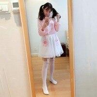 Ladies Casual Women Cat Doll T Shirt Cat Paw Mesh Skirt 2 Pcs Set Womens Kawaii