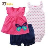 27 Çocuklar 3 Adet Kız Bebek Giysileri Yaz Çiçek Giyim Sevimli Çocuklar Set Bebek Kız Giyim Setleri Çiçek T Gömlek Tops + Şort Romper