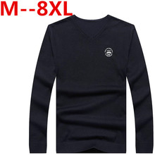 9XL 8XL 6XL 5X Solid Color Pullover Men Wool Cashmere Sweater Men Brand Mens V Neck Sweaters Fashion Pull Homme Slim Fit Shirt
