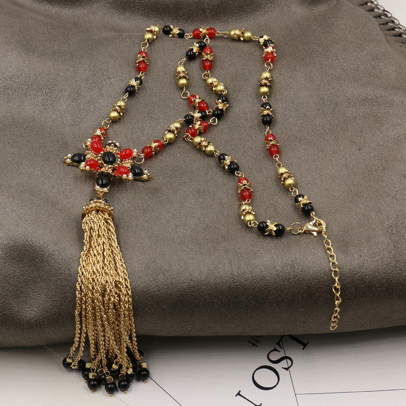 2017 European and American foreign trade big luxury beads tassel fashion long paragraph cross necklace sweater chain 035 спортивная футболка foreign trade and exports ni ke