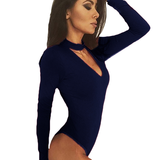 Women Long Sleeve Bodysuit Sexy Romper Deep V Neck Bodycon Body Suit One Piece Fitness Overalls For Women 5