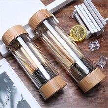 Gourde en verre à Double paroi en acier inoxydable, 300/400ml, gobelet en bambou, avec infuseur à thé et filtre