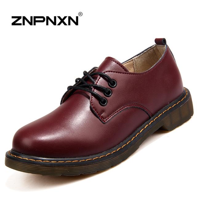 Novo 2015 Genuína Mulher Sapatos de Couro Sapatos Oxford Para As Mulheres Apartamentos Preto Sapatos Casuais Senhoras Zapatos Mujer Sapato Feminino
