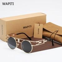 WAPITI Neue Marke Ersten Version Round Gothic Punk Metall Retro Bunte Reflektierende Linsen Mode-glas-sonnenbrille Frauen 393