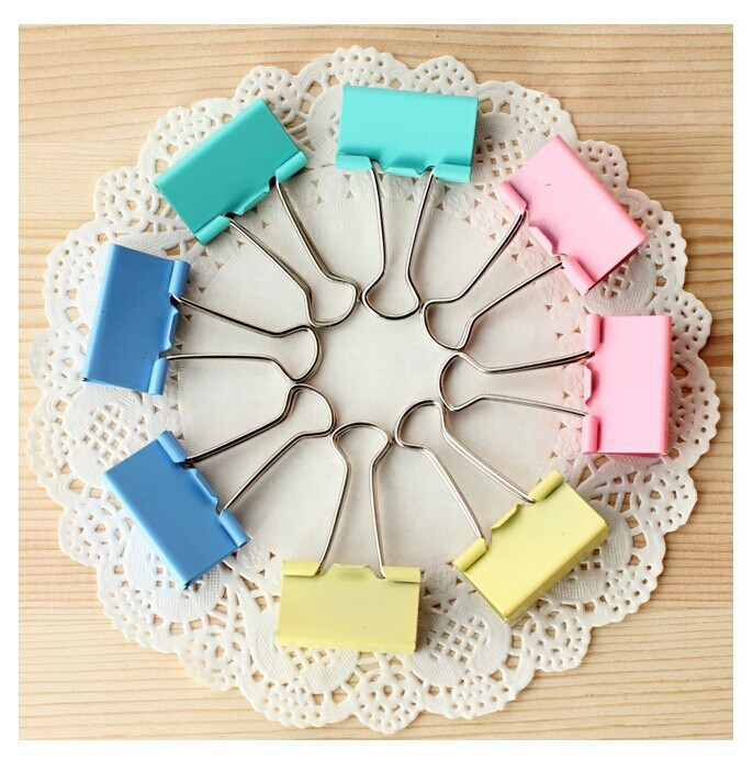 20pcs Colorful Metal Binder Clips Paper Clip 15mm Office Learning Stationary Office Material School Supplies