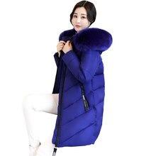 Ukraina tebal Besar kerah Bulu musim dingin jaket wanita 2018 Baru 6XL Plus ukuran womens down jaket Parkas Berkerudung Mantel Panjang Perempuan 274