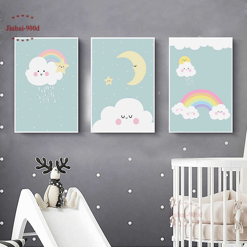 900D New Arrivals Cartoon Poster Cloud Moon Rainbow Kids Room Picture Canvas Painting Nursery Wall Art Modular Pictures NUR20