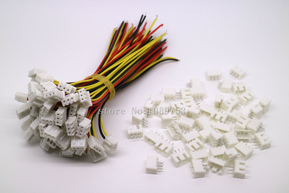 100 SETS JST XH 2.5 3 Pin Battery Connector Plug Female & Male with 100MM Wire 50pcs 25pairs 2 pin jst 100mm pitch 2 54mm male and female wire connector plug cable for diy rc battry model