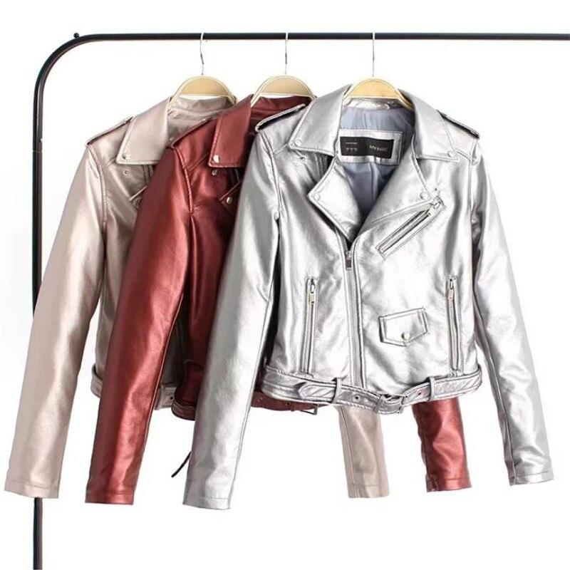 Pu   Leather   Jacket Coat Long Sleeve Lapel Short Zipper Bright   Leather   Jacket Coat Fashion Leisure Punk Fan Car Jacket Coat S-XL