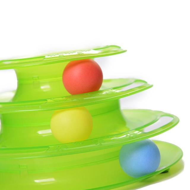 Plastic Three Levels Tower Tracks Disc Cat Toy Amusement Shelf Play Station Pet Cats Triple Play Disc Ball Toys Jouet Chat sale