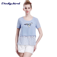 Dickybird 2017 Summer New Women S Shirts Fashion Casual OL O Neck Lace Hollow Mock Two