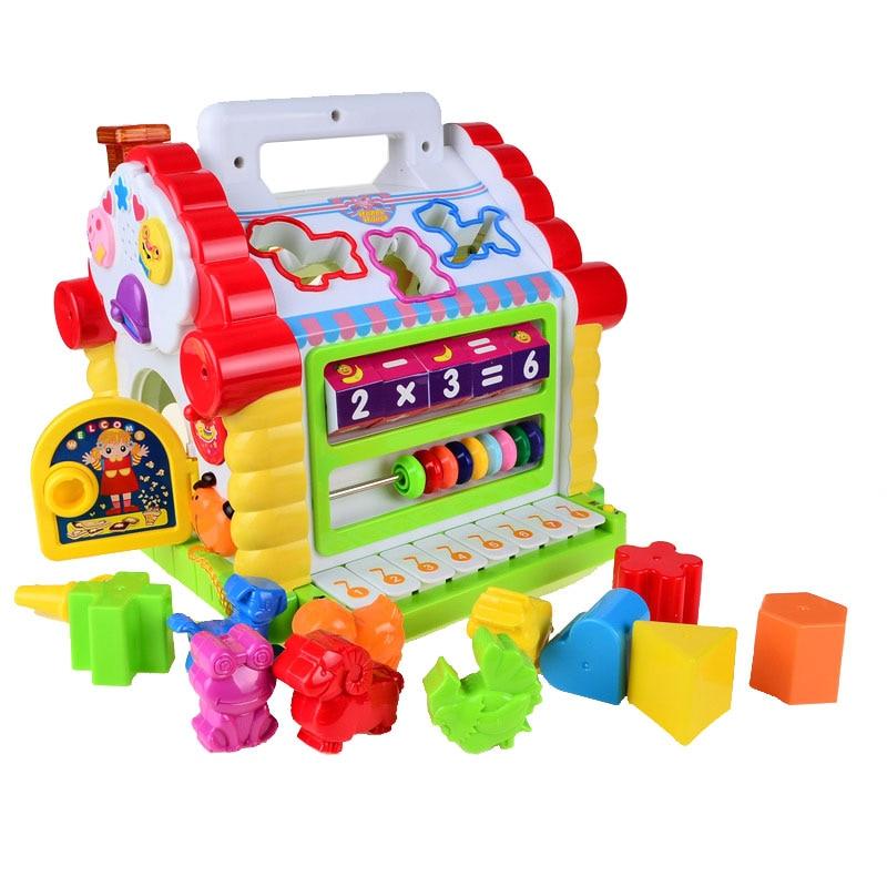 ОСГТ Многофункциональные Музыкальные игрушки красочные детские забавы ДОМ электронный геометрические блоки сортировки обучения Развиваю...