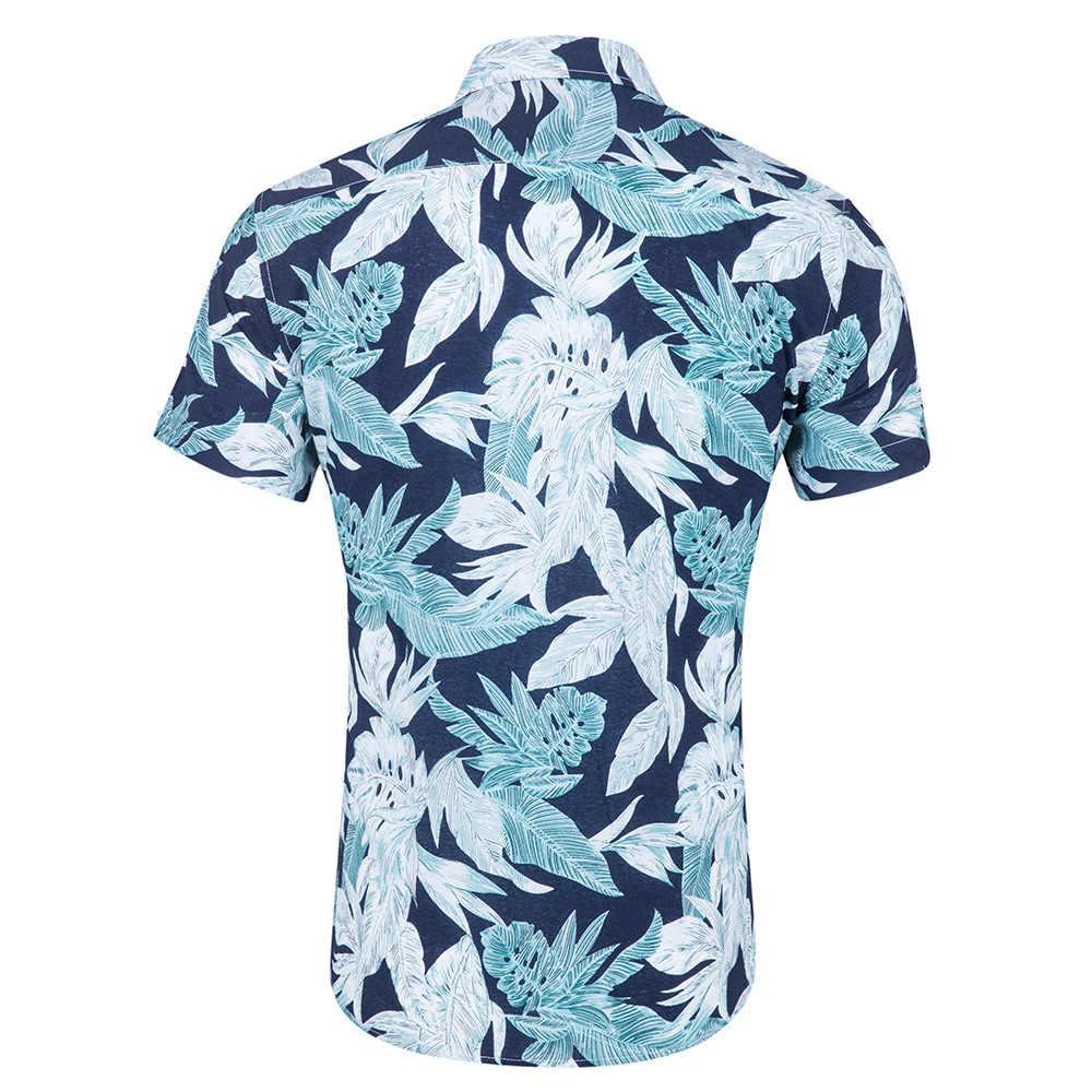 Для мужчин s летние шорты рукавом Гавайская рубашка Для мужчин Повседневное плюс Размеры платье с цветочным рисунком рубашки пляжный отдых рубашка Camisa социальной Masculina