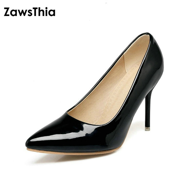 2ea6b0bd3719 ZawsThia Women Pumps High Heels Shoes Green Stiletto Pointed Toe Woman  Shoes Sexy Party Shoes Nude Heels for Women Plus Size 46