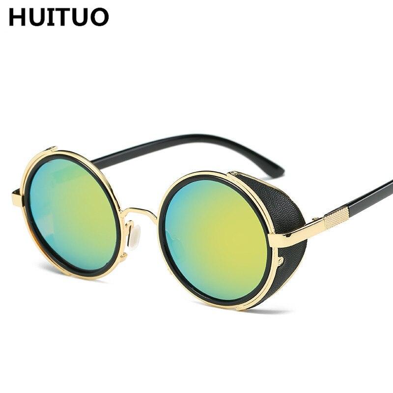 47618201701 HUITUO Fashion Retro Steampunk Sunglasses Round Frame Sun Glasses Driver  Sunshade Men Metal Glasses High Quality