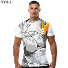 KYKU Brand Dragon Ball Z T shirt Goku Tees Yellow Hair shirts Muscle Tshirt Black And White Tops  Clothing Men Rock Top Tee