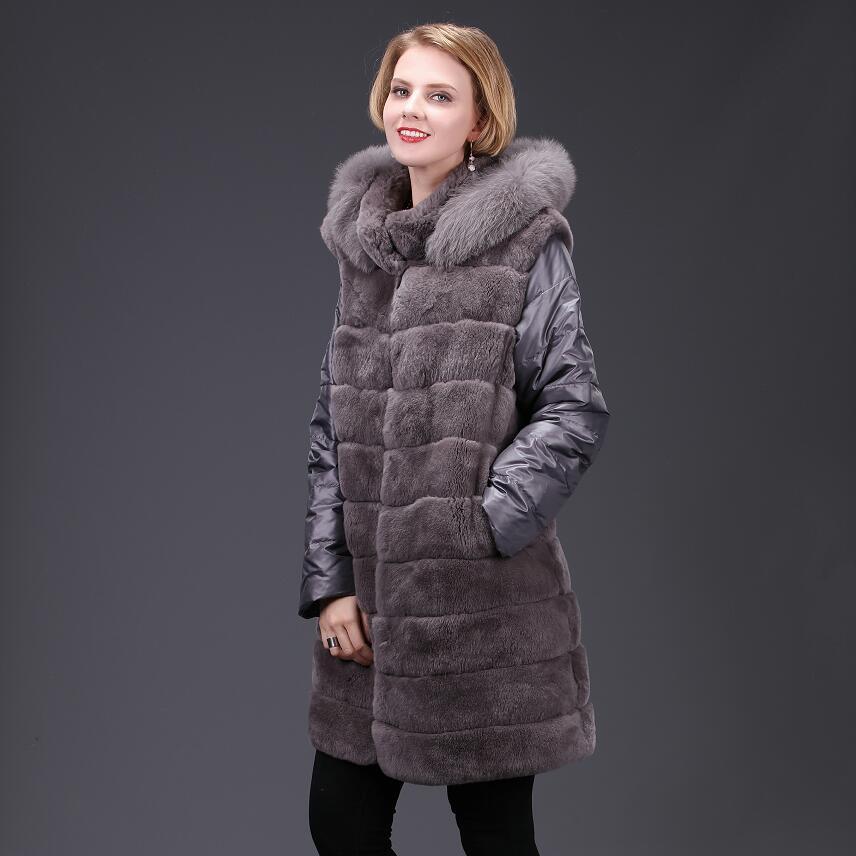 2018 dames nouveau naturel fourrure de lapin manteau automne hiver véritable manteau de fourrure de fourrure de lapin fourrure de renard de mode décontracté Européen chaud et Américain