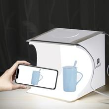 Mini studio photo boîte lumineuse pliable, 2 panneaux éclairage LED, kit fond photographique pour caméra DSLR