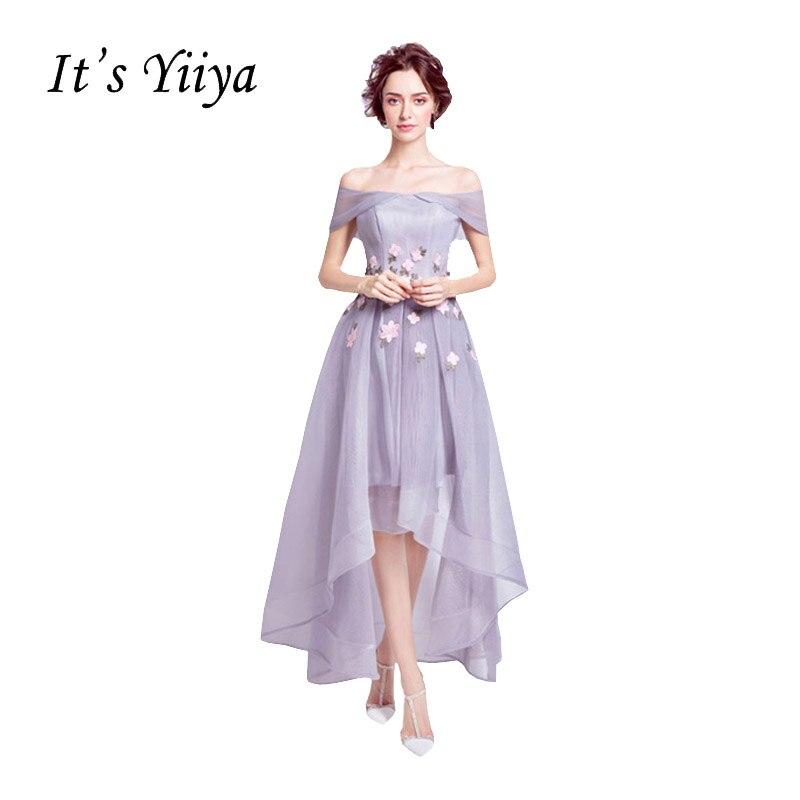 It's Yiiya 2017 New Light Purple Boat Neck Formal Dress Appliques Flower Pattern Charming Quality Cocktail Dresses QXN015