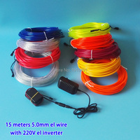 AC 220V Toggle Driver+15Meter 5.0mm 10 Colors Choice Trendy EL wire LED Neon Holiday Lighting glowing cable For Festival Decor