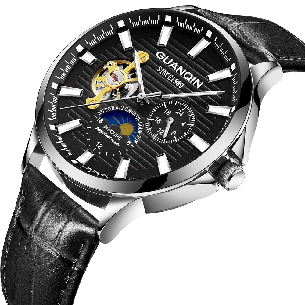 HTB1ivleKr5YBuNjSspoq6zeNFXaO GUANQIN 2019 new watch men waterproof Automatic Luminous men watches top brand luxury skeleton clock men leather erkek kol saati