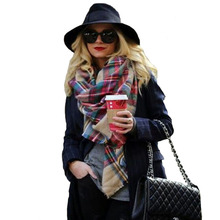Winter font b Tartan b font Female Scarf Desigual Checkered Wool Blend New Designer Wrap Women