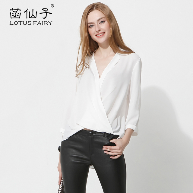 aef270979 Fada Lotus Blusas mulheres moda 2018 roupas Baratas china Das Mulheres  encabeça sólida camisa das mulheres