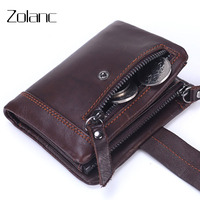 Zolanc Brand High Quality Design Wallets 100 Genuine Leather Men Wallets With Coin Zipper Mini Male