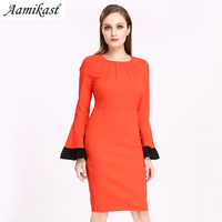Aamikast 2019 Autumn Winter Vintage Long Flare Sleeve Shoulder Front Slit Sheath Fashion Slim Casual Party Club Bodycon Dress