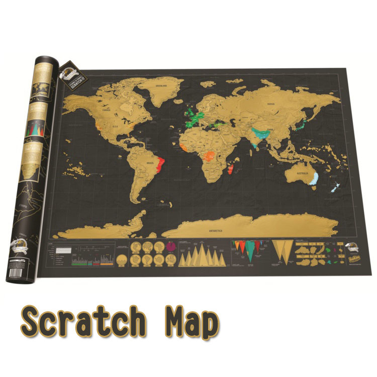 Luxury Edition Black Deluxe Scratch Map Travel Scratch World Map Best Personalized Room Home Decoration Wall Sticker HK184 image