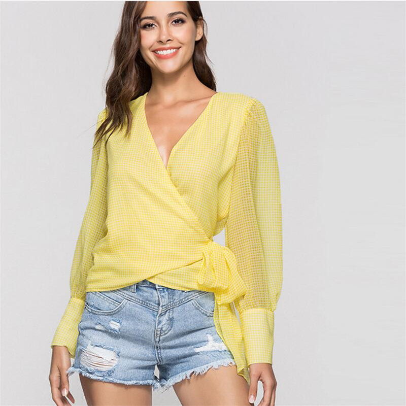 Fashion Sexy Cardigan V-Neck Bandage Top Long Sleeve Button Plaid t shirt wome 2018 New Arrival Hot Sale