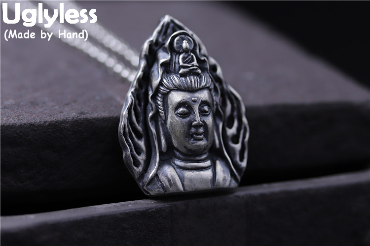 Uglyless Real S 990 Fine Silver Buddhism Figure Pendant Necklace without Chain Goddess of Mercy Jewelry Handamde Engraved Bijoux