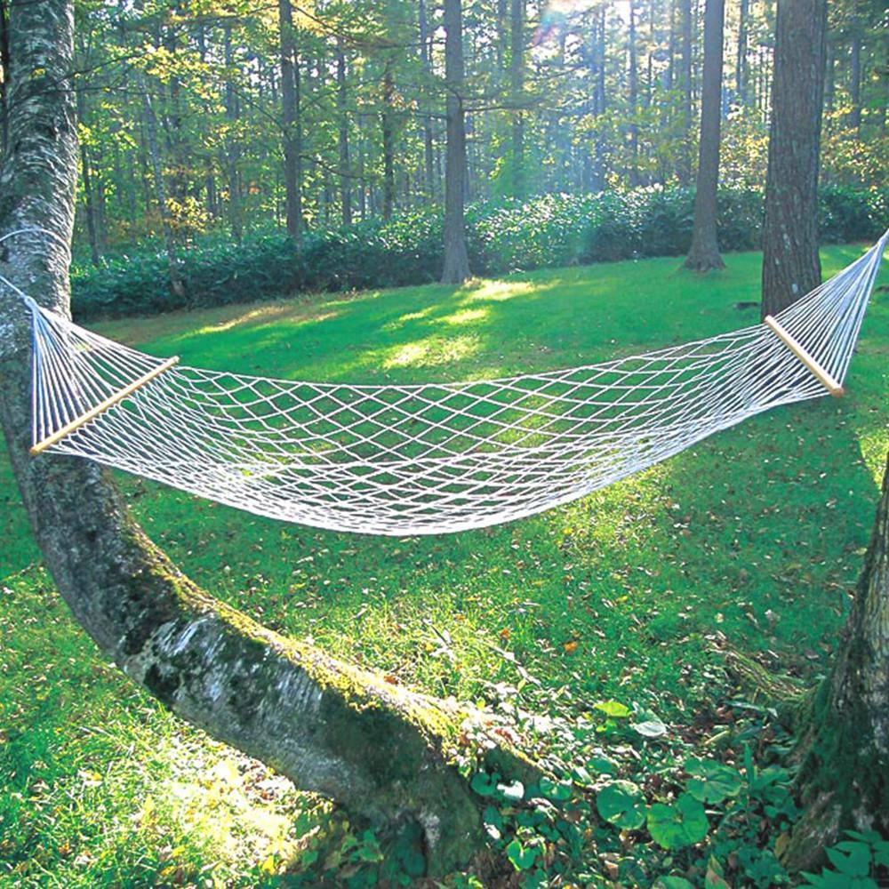 SZS Hot 59 Double Hammock 2 Person Patio Bed Nylon Rope Outdoor Netting Hanging Swing furniture size hanging sleeping bed parachute nylon fabric outdoor camping hammocks double person portable hammock swing bed